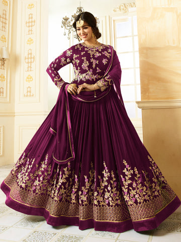 Purple Color Faux Georgette Semi Stitched Salwar - YOYO-F1196-Purple