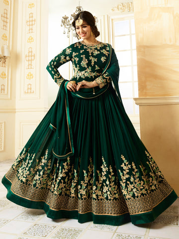 Green Color Faux Georgette Semi Stitched Salwar - YOYO-F1196