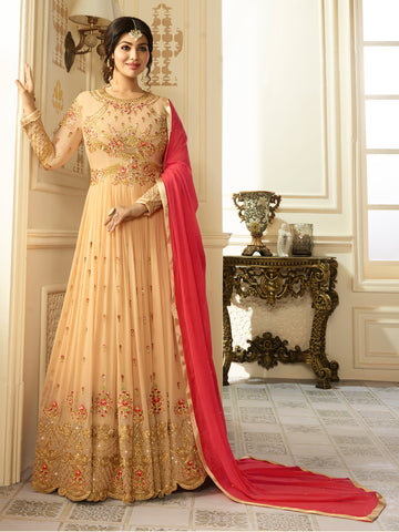 Beige Color Faux Georgette Semi Stitched Salwar - YOYO-F1199