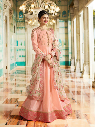 Peach Color Chennai Silk Semi Stitched Salwar - YOYO-F1212