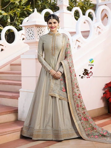 Grey Color Chennai Silk Semi Stitched Salwar - YOYO-F1214
