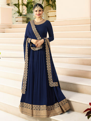 Blue Color Faux Georgette Semi Stitched Salwar - YOYO-F1215