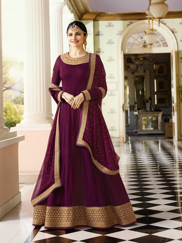Purple Color Faux Georgette Semi Stitched Salwar - YOYO-F1216