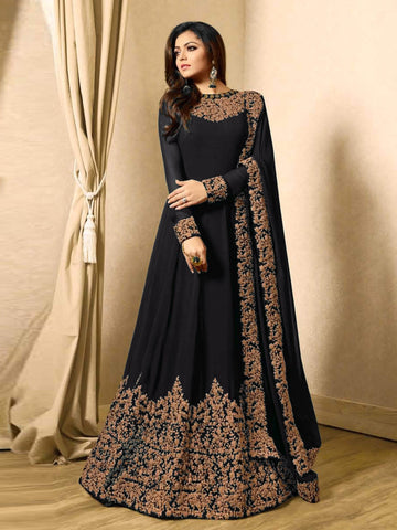 Black Color Faux Georgette Semi Stitched Salwar - YOYO-F1220-Black