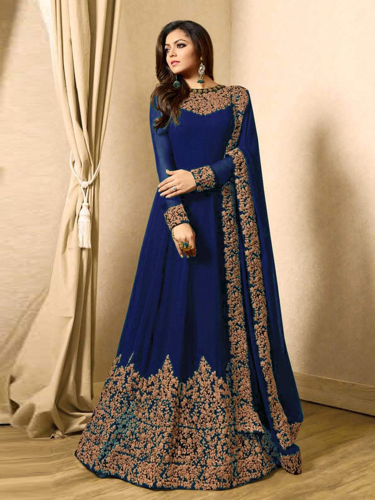 Buy Blue Color Faux Georgette Semi Stitched Salwar