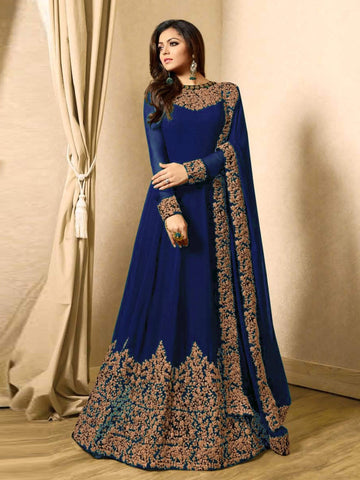 Blue Color Faux Georgette Semi Stitched Salwar - YOYO-F1220-Blue