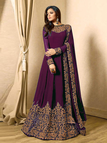 Purple Color Faux Georgette Semi Stitched Salwar - YOYO-F1220