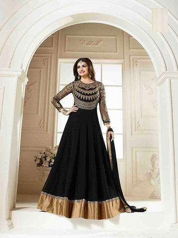 Black Color Georgette Semi Stitched Salwar - YOYO-Prachi-Black