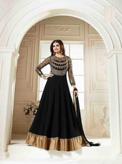Buy Black Color Georgette Semi Stitched Salwar
