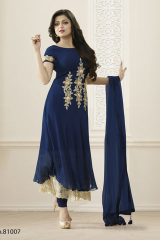 Blue Color Georgette Semi Stitched Salwar - YOYO-SHIV-0814