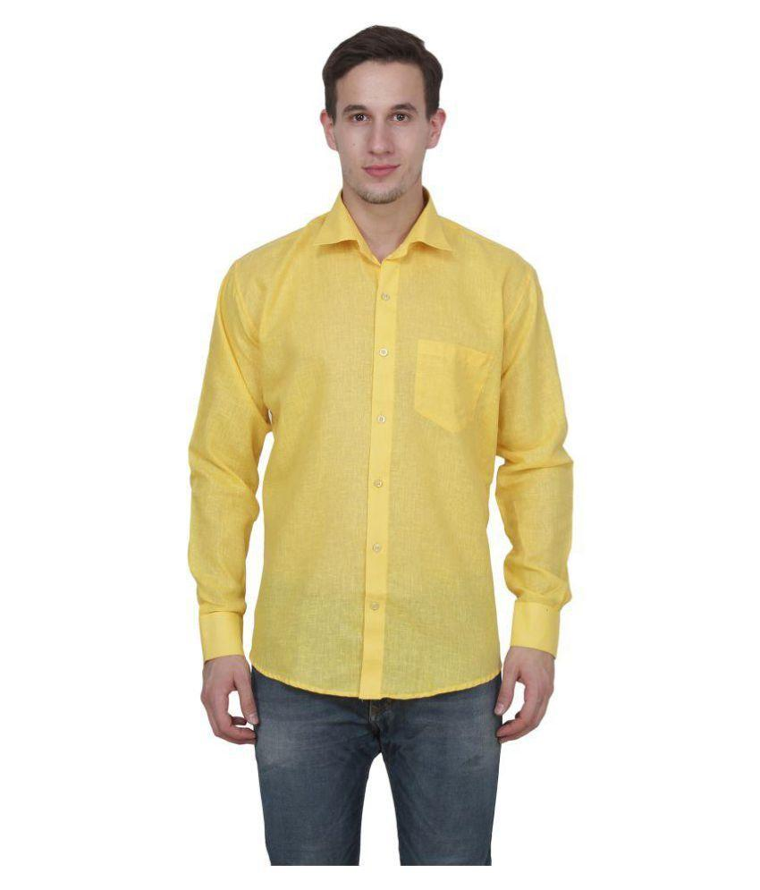 Buy Dark Yellow Color Cotton Blend Slim Fit Shirts