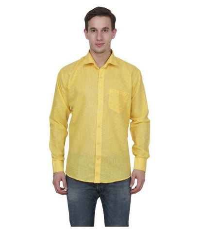 Dark Yellow Color Cotton Blend Slim Fit Shirts - Yellow-shirtsNews