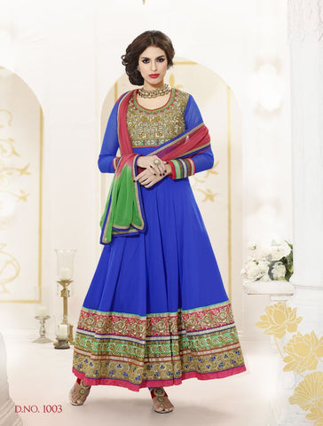 Blue Color Georgette Salwars - Z-1003-A