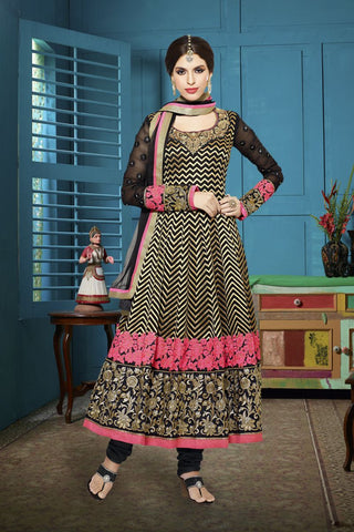 Black Color Georgette Salwars - Z-1004