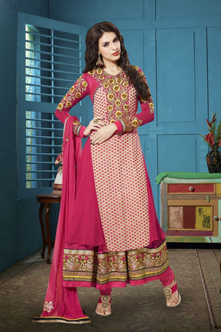 Pink Color Georgette Salwars - Z-1008