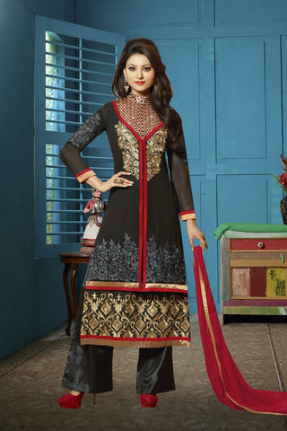 Black Color Georgette Salwars - Z-9004