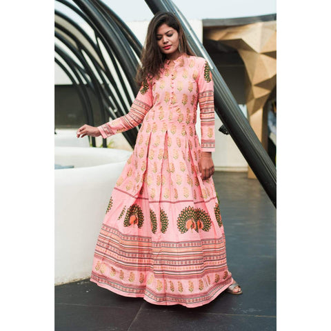Peach Color Reyon Printed Long Gown - ZF7 Peach