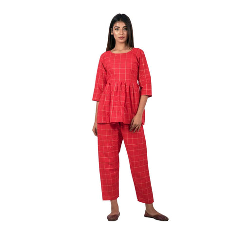 Red Color Cotton Printed Top With Plazoo - ZF8 Red