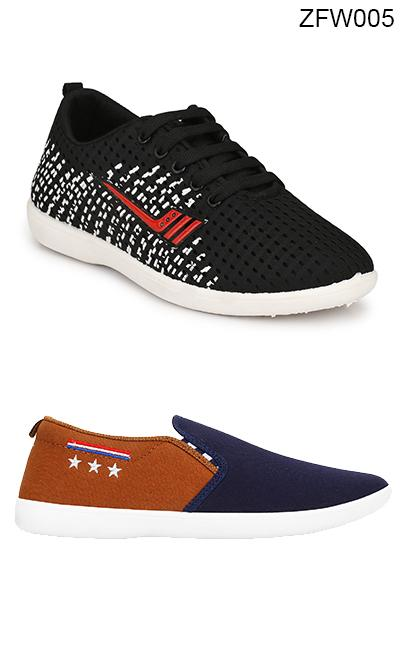 Buy COMBOS-Black And Multi Color Synthetic Mens Shoe