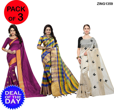 DOTD-Cotton and Zarna Silk Sarees - Goli-Pink , AF-1-Blue-Yellow , Butterfly-Black