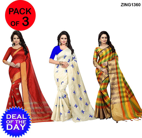 DOTD-Cotton and Zarna Silk Sarees - Goli-Red , Butterfly-Blue  ,Af-1-Orange-Green