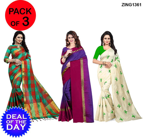 DOTD-Cotton,Zarna and Ikkat Silk Sarees - Is-2-Green-Red , Af-4-Purple-Pink , Butterfly-Green