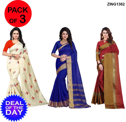 DOTD-Cotton and Zarna Silk Sarees - Butterfly-Orange  ,CP-Blue , AF-4-Red-Musted