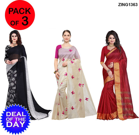 DOTD-Cotton,Zarna and Dani Georgette Sarees - Kamal-Black , Butterfly-Pink , Cp-Red