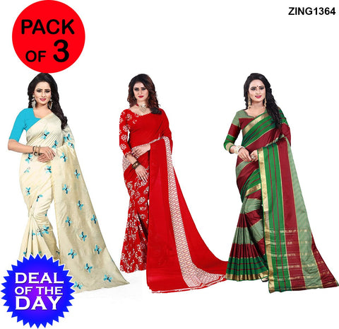 DOTD-Cotton,Zarna and Dani Georgette Sarees - Butterfly-SkyBlue , Kamal-Red , Anaya-Red-Green