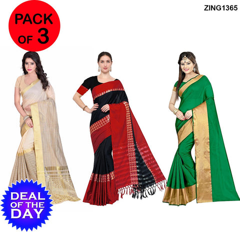 DOTD-Cotton and Cotton Silk Sarees - Ch-Pallu-102 , Aura-T-1-Black-Red , M-Green