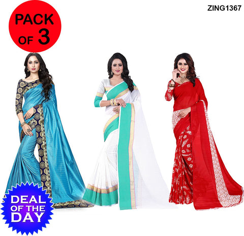DOTD-TamTam,Manipuri Cotton and Dani Georgette Sarees - TamTam-SkyBlue , Mp-1-Rama , Sunflower-Red