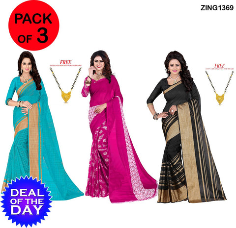 DOTD-PolyCotton and Dani Georgette Sarees - Pc-259 , Sunflower-Pink , Pc-211