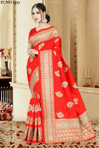 Red Color Zoya Art Silk Saree - ZOYA-1251