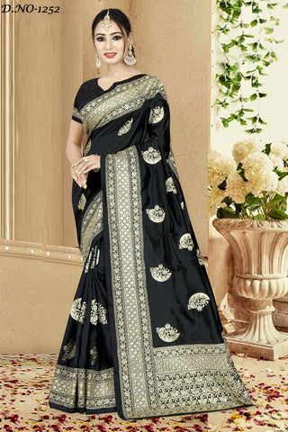 Black Color Zoya Art Silk Saree - ZOYA-1252