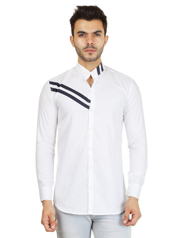 White Color Cotton Blend Men's Solid Shirt - ZTL-DS-01