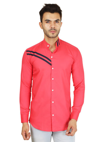 Pink Color Cotton Blend Men's Solid Shirt - ZTL-DS-02
