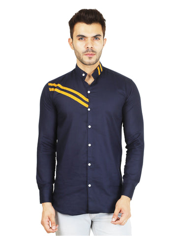 Dark Blue Color Cotton Blend Men's Solid Shirt - ZTL-DS-03