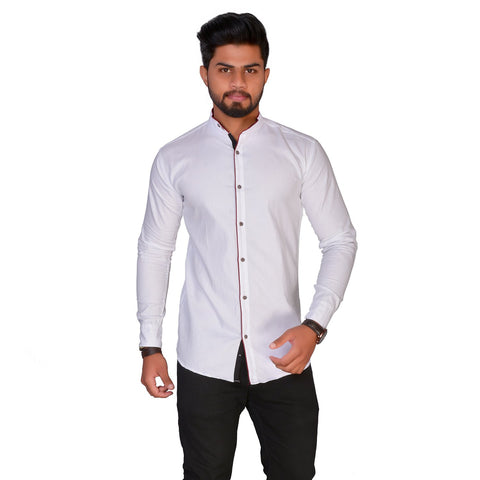 White Color Cotton Blend Men's Solid Shirt - ZTL-KSMS16