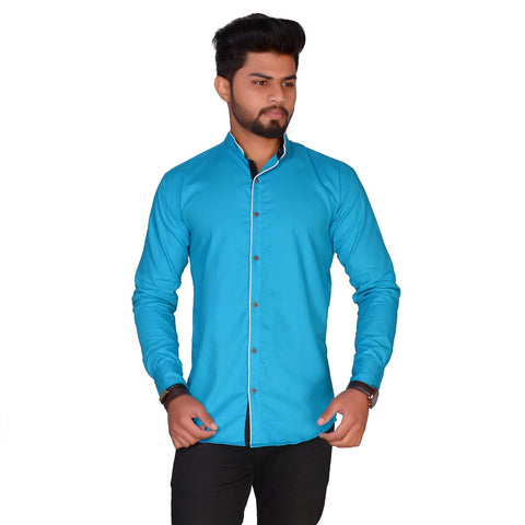 Blue Color Cotton Blend Men's Solid Shirt - ZTL-KSMS17