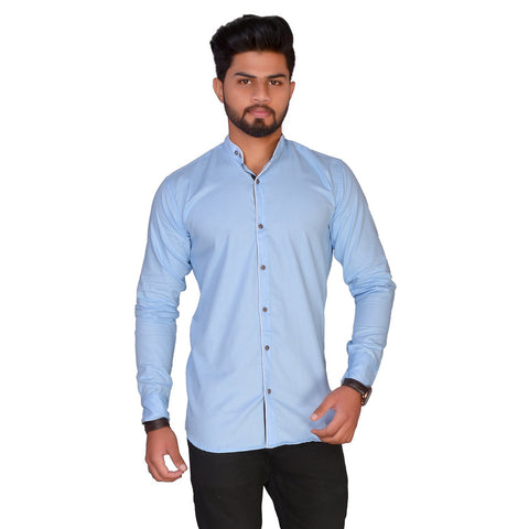 Light Blue Color Cotton Blend Men's Solid Shirt - ZTL-KSMS19