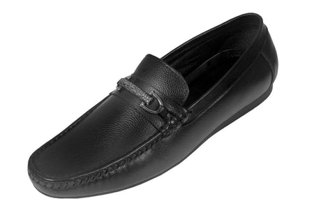 Black Color Leather Mens Loafer - ZUXIOmodel18313-Black