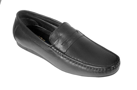 Black Color Leather Mens Loafer - ZUXIOmodel18318-Black