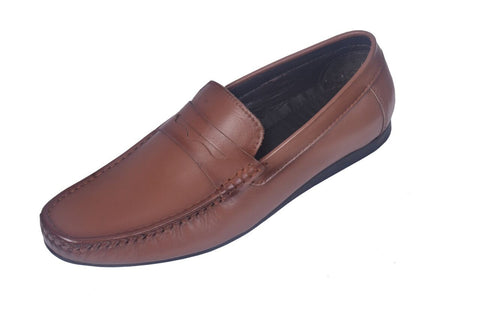 Brown Color Leather Mens Loafer - ZUXIOmodel18318-Brown