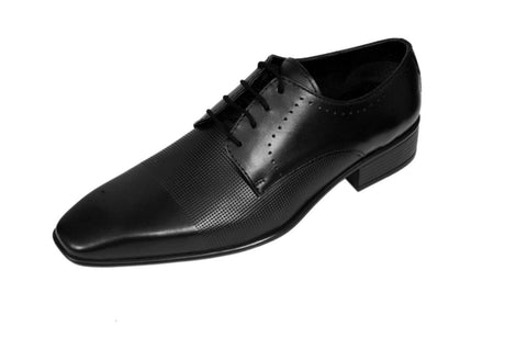 Black Color Leather Mens Derby - ZUXIOmodel18412-Black