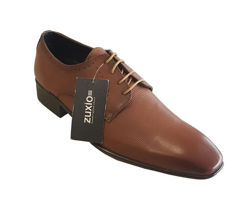 Tan Color Leather Mens Derby - ZUXIOmodel18412-Tan
