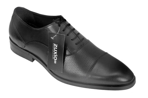 Black Color Leather Mens Oxford - ZUXIOmodel18714-Black