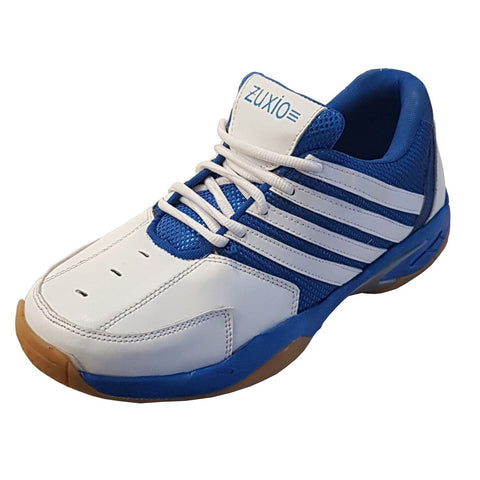 White Color Synthetic Mens Badminton - ZUXIOmodelBadBlueStripes