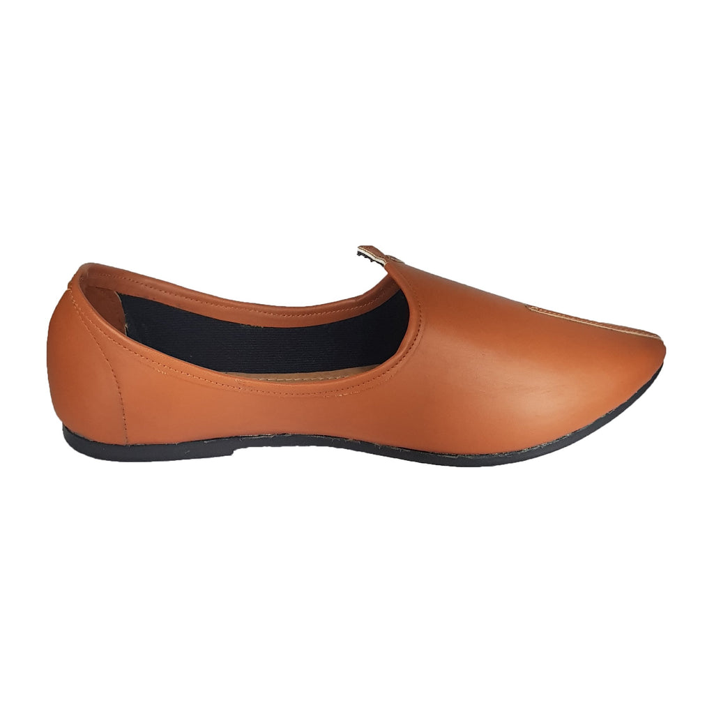 Buy Tan Color Leatherette Men's Ethnic Wear Shoes