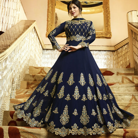 Navy Blue Color Faux Georgette Semi Stitched Salwar - Zara-22022