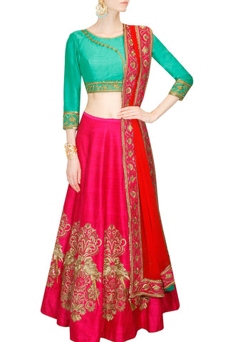 Red Color Banglori Silk Stitched Lehenga - Zara-Lehenga